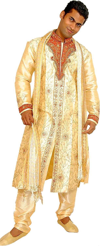 Now on sale Apparelsonline Gold Men's Sherwani Silk In Designer Pieces Max 47% OFF Three