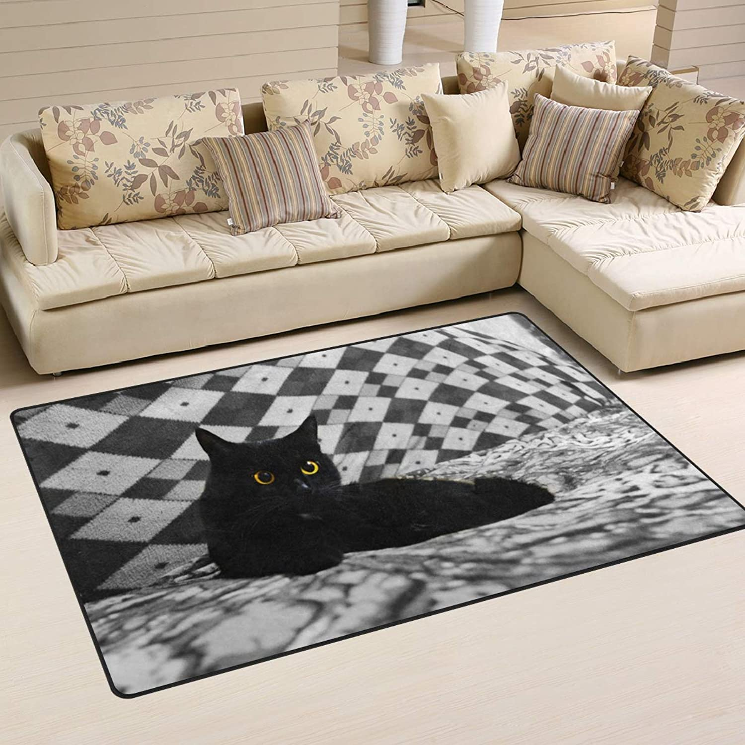 Area Rugs Doormats Back Cat in The Bed 5'x3'3 (60x39 Inches) Non-Slip Floor Mat Soft Carpet for Living Dining Bedroom Home