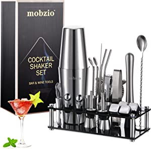 Cocktail Shaker Set Bartender Kit, 23 PCS Boston Shaker Tool Set with Stand, Drink Mixer Martini Shaker Bartending Kit, Bar Tools Bartender Tool Kit, mobzio Bar Accessories for the Home Bar Set