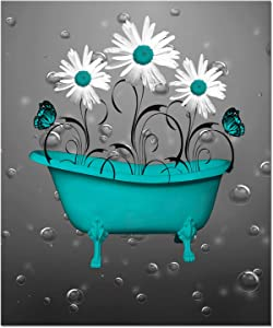 White Daisy Flowers Butterflies Bubbles Teal Bathtub Rustic Canvas Wall Art Prints Framed Picture Wall Decor Vintage Bathroom Decor Ready To Hang 20x24