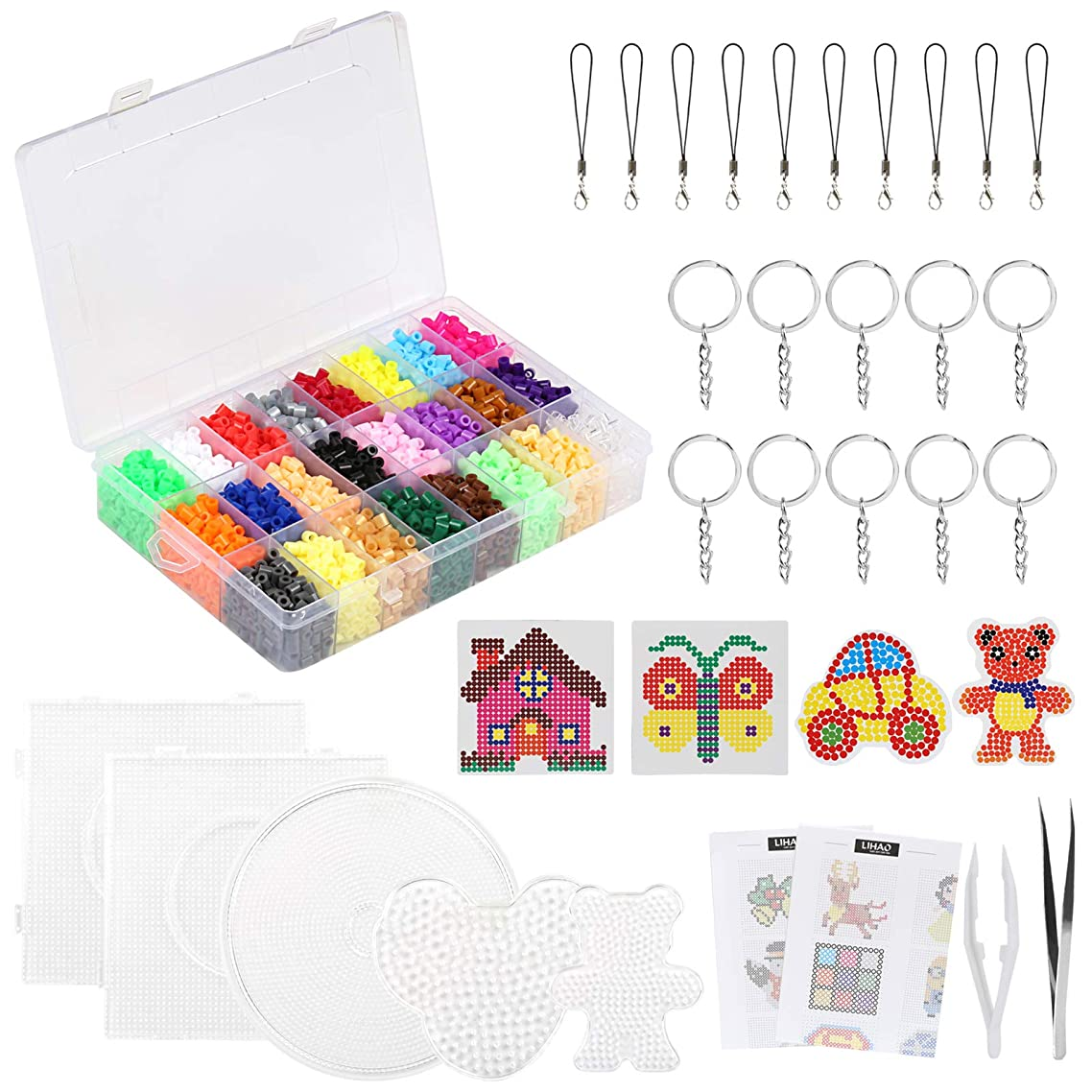 7000x Fuse Beads, 24 Color Fuse Beading Kit for Kids Birthday Party Craft with Pegboards and Ironing Paper