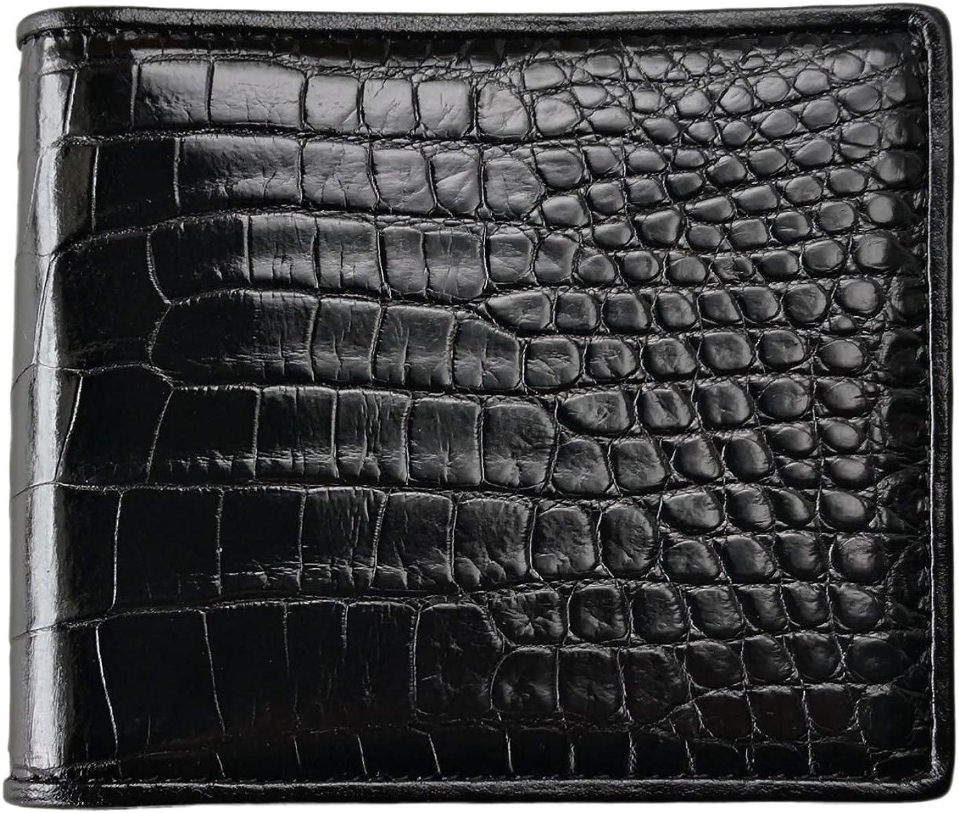 CHERRY CHICK Men's Luxury Crocodile Wallets Genuine Leather Hemmed