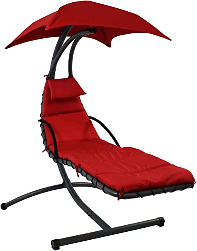 discount Sunnydaze Floating Chaise wholesale Lounger, online sale Outdoor Hanging Hammock Patio Swing Chair with Canopy and Arc Stand, Burnt Orange outlet sale