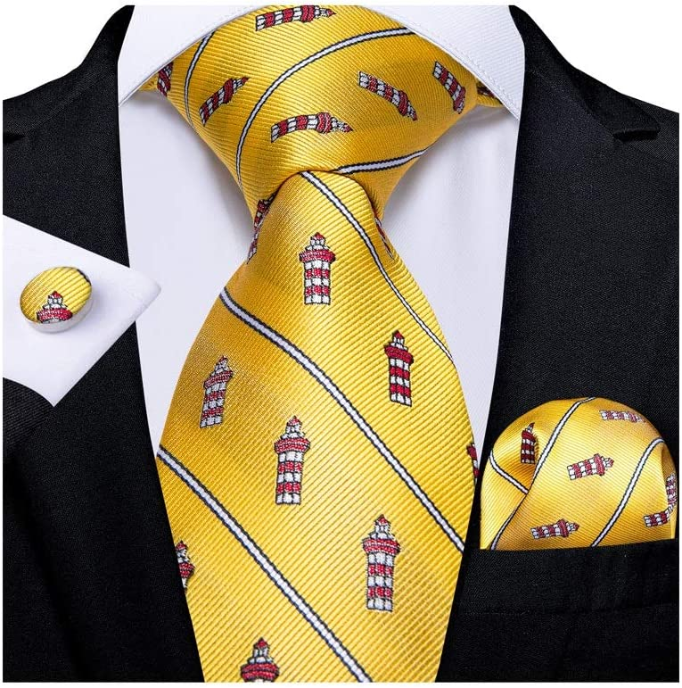 YFQHDD Classic Wide Men's Silk Ties Set Business Wedding Tie Pocket Square Cufflinks Gifts for Men (Color : C)