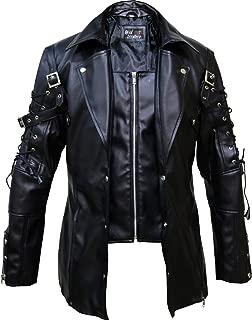Punk Rave Poison Black & Maroon Jacket Mens Faux Leather Goth Steampunk Military Coat, XXS-3XL
