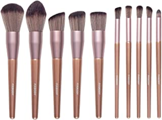 FIXBODY Makeup Brush Sets - 10 PCS Wood Handle Soft Synthetic fiber hair Kabuki Powder Blush Liquid Eyeliner Eyeshadow Lip Eyebrow Brush (Champaign Gold)
