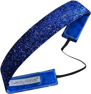 Sweaty Bands Womens Girls Headband - Non-Slip Velvet-Lined Sparkly Hairband - Viva Diva Royal Blue 1-Inch
