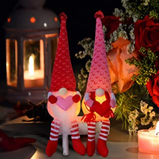 2PCS Luminous Valentines Day Gnome Plush Decorations Present-Mr and Mrs Handmade Table Desk Ornament for St. Patrick`s Day...