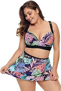 1e37796c46f7 FlYHIGH Costume da Bagno Donna Plus Size Sexy Bikini a Due Pezzi Set  Profondo Scollo a