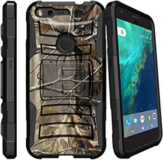 MINITURTLE Compatible with Google Pixel Case| Pixel Case [Clip Armor] Rugged Case Dual Layer w/Silicone and Stand + Holster Belt Clip Fallen Leaves Camo