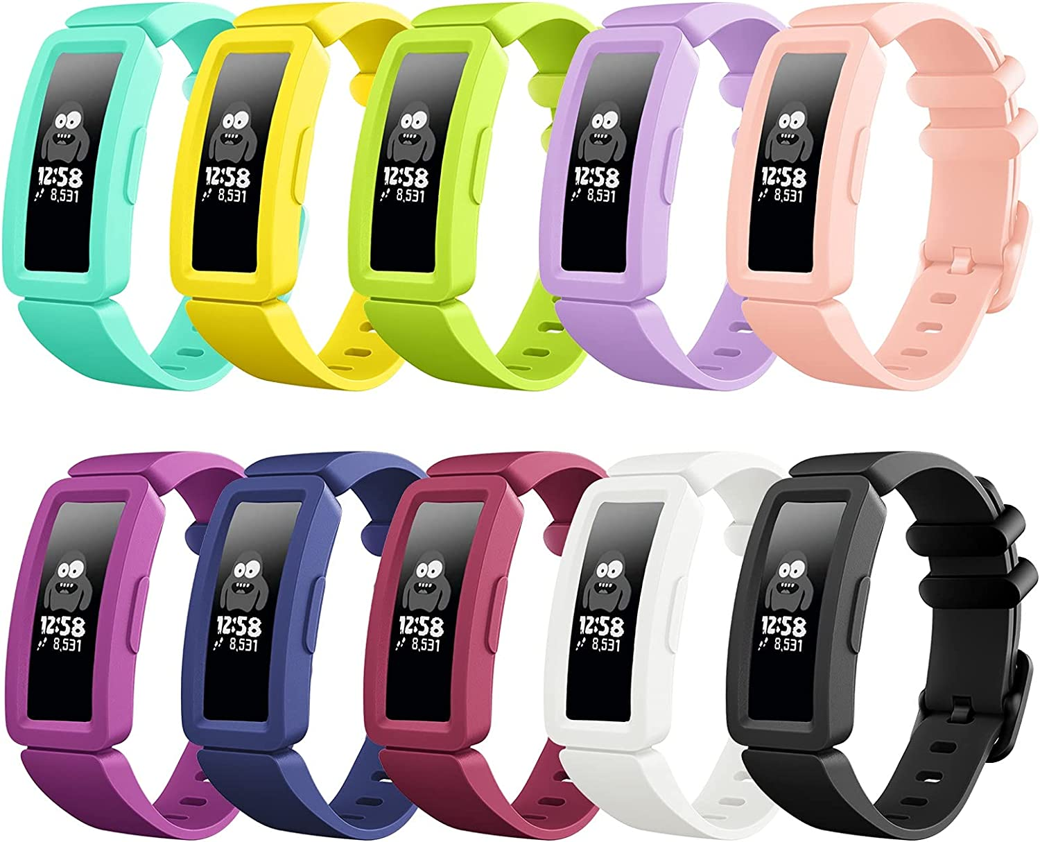 Vanet Bands Compatible with Fitbit Ace 2 for Kids 6+, Soft Silicone Colorful Replacement Sports Wristbands for Fitbit Ace 2 for Kids Boys Girls