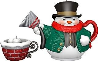 Hallmark Keepsake Christmas Ornaments 2019 Year Dated Tea Time Snowman Teapot, Porcelain, Set of 2
