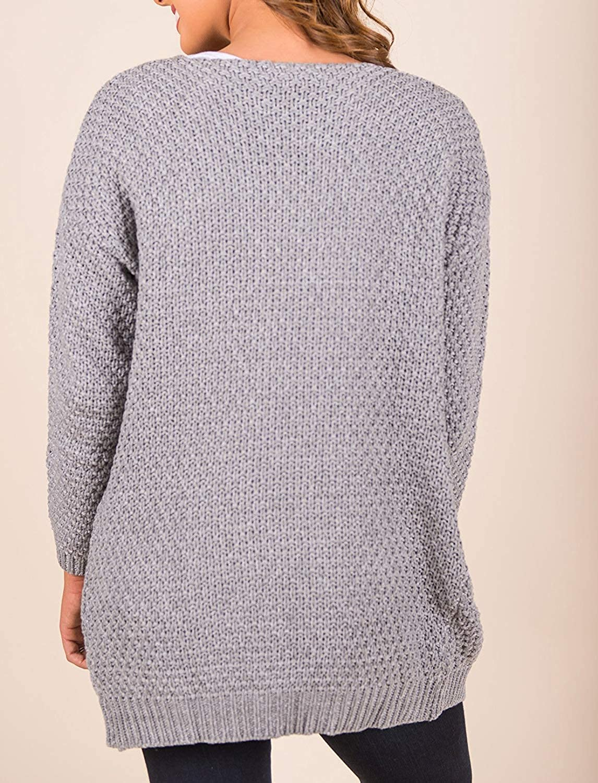 Erneut Damen Vorne Offen Sweater Cardigan Langarm Strickjacke Chunky Knit Pullover Seitentasche Casual Outwear Grau
