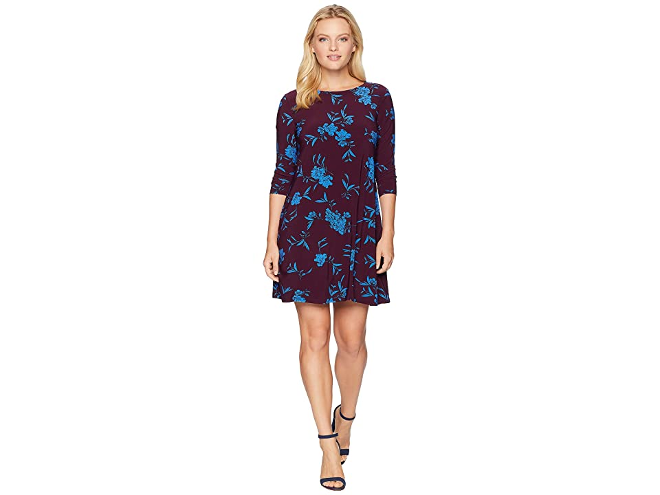 LAUREN Ralph Lauren Petite Abbi Almonte Floral 3/4 Sleeve-Day Dress (Passion Plum/Riverside Blue) Women