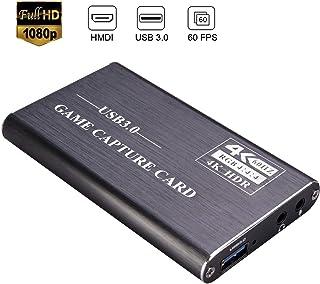 Kdely Game Video Capture Card con Micrófono, USB3.0 HDMI 4K HD 1080P 60FPS Plug-Play Ultra Tiempo Real para de la Consola de Juegos/Videocámara/Streaming/Windows/Mac/Grabación de Video- Gris