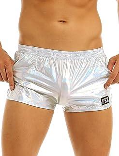 inhzoy Men's Shiny Metallic Holographic Stretchy Swim Trunks Low Rise Boxer Shorts Hot Pants