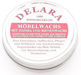DELARA Sehr hochwertiges Möbelwachs mit Jojoba und Bienenwachs, schützt vor Austrocknung und Oxidation, Farbe: Schwarz - Made in Germany