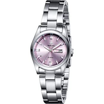 Ladies Dress Watches Small Face Pink/Blue/White Dial Waterproof Women Analog Quartz Watch with Stainless Steel Band