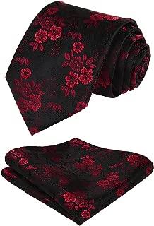Men's Floral Tie Handkerchief Jacquard Woven Flower Necktie and Pocket Square Set