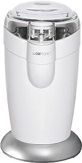 Clatronic KSW 3306 Molinillo eléctrico, Especias, Semillas o Granos, Capacidad 40gr 20 Tazas de café, Cuchillas Acero Inoxidable, tamaño Compacto, 120 W, Blanco/Plata