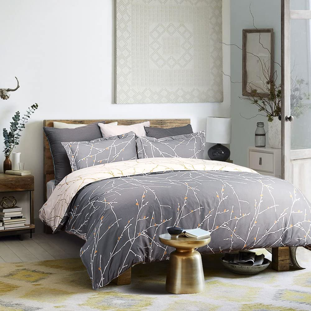 Bedsure Printed Duvet Cover Set Queen Pattern Low price Ivory Grey Raleigh Mall Size -