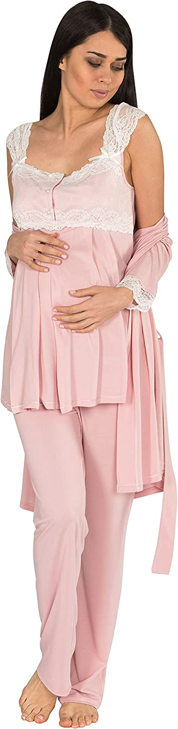 Bondy Maternity Pajamas 3Piece Pajama Set with Pants and Robe