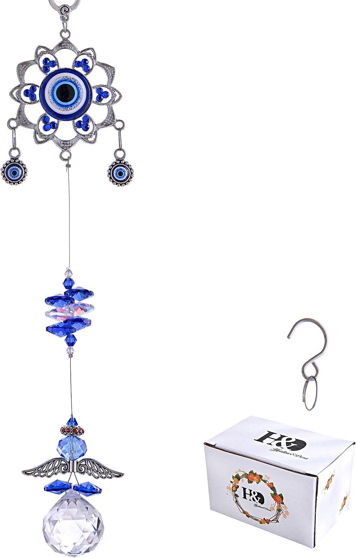 YU FENG Hanging Crystal Suncatchers Ornament Evil Eye Guardian Angel Decor Garden Suncatcher Prism Rainbow Maker Pendant