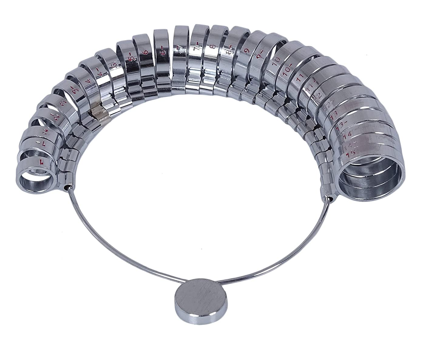 ManOnMoon Stainless Steel Measure Wide Finger Sizer Ring Gauge Jewelry Tool - 1 to 15 US Size