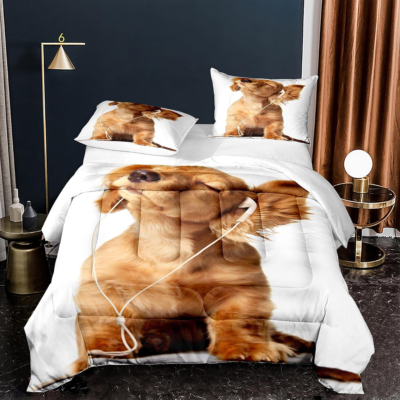 kxry Cute Dog Golden Retriever Popular gift Comforter Size Twin f Set Bedding