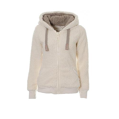 c481314d Kooos New Ladies Womens Soft Teddy Sherpa Fleece Hooded Jumper Hoody Jacket  Coat