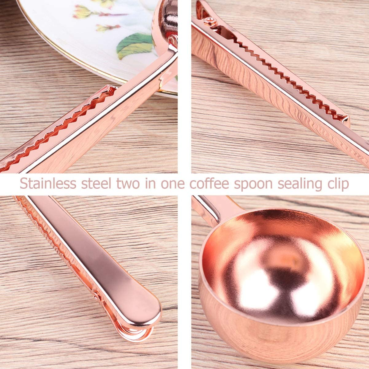 Black TOPBATHY Coffee Scoop Stainless Steel Tea Spoon with Bag Clip Bean Measuring Spoon for Hotel Office Store Home Kitchen