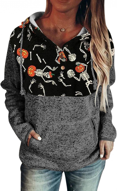 Hoodies for Women Pullover,Halloween Sweatshirt Teen Girls Long Sleeve Pumpkin Hooded Loose Shirt Tops with Pocket