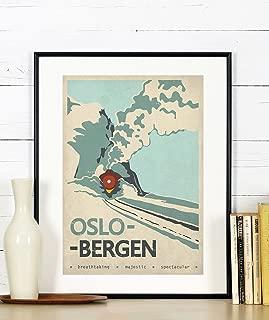 EmuGallery Retro Travel Poster, Oslo Bergen, Norway, Scandinavia, Train, Railroad, Vintage Art Print, Wall Decor, A3