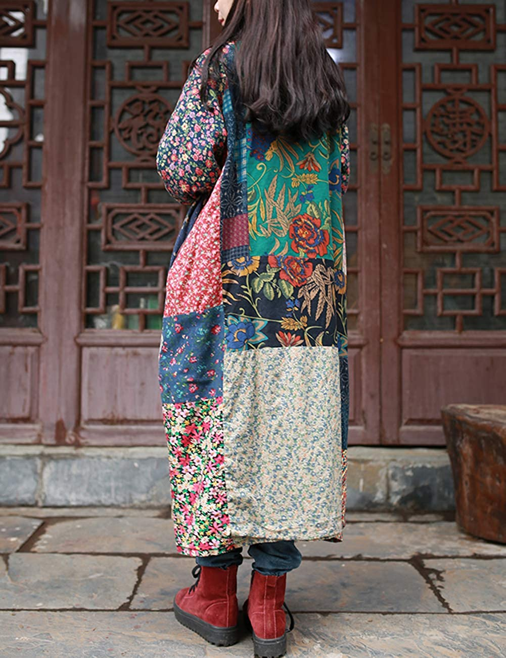 LZJN Women's Trench Coat Floral Print Jacket Chinese Style Patchwork Outwear