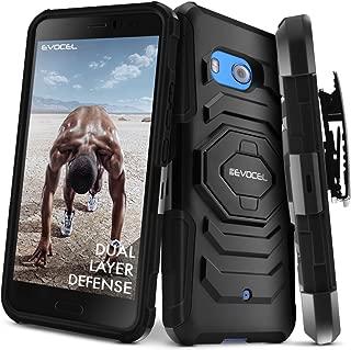 HTC U11 Case, Evocel [New Generation] Rugged Holster Dual Layer Case [Kickstand][Belt Swivel Clip] for HTC Ocean/HTC U11 (Does NOT fit HTC U11 Life), Black (EVO-HTCU11-XX01)