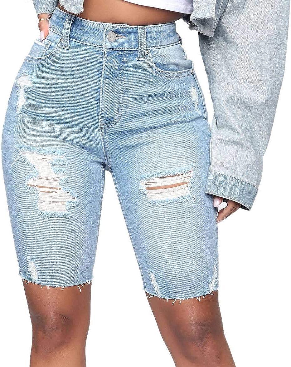 WAYRUNZ Womens Denim Bermuda Shorts High Waist Ripped Hole Distressed Short Jeans Junior