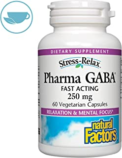 Stress-Relax Pharma GABA 250 mg by Natural Factors, Non-Drowsy Stress Support for Relaxation and Mental Focus, 60 Vegetarian Capsules (60 Servings)