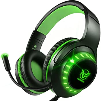 Pacrate Gaming Headset with Microphone for PS4 PC Xbox One Headset Stereo Surround Sound Intense Bass Headphone with LED Light Noice Cancelling for Computer Laptop Mac (Black Green)