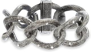 "Steve Madden Rhinestone Large 7"" Hematite-Tone Curb Chain Bracelet for Women"