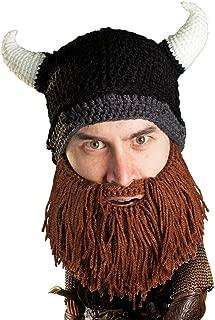 Viking Looter Beard Beanie - Funny Knit Horned Hat and Fake Beard