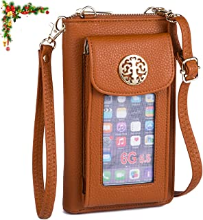 Crossbody Cell Phone Purse for Women Wristlet Wallet with Phone Holder RFID
