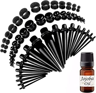 BodyJ4You 50PC Gauges Kit Ear Stretching Aftercare Jojoba Oil Wax 14G-12MM Tunnel Plug Taper Set