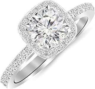 1 Carat Classic Halo Style Cushion Shape Diamond Engagement Ring 14K White Gold with a 0.75 Carat...