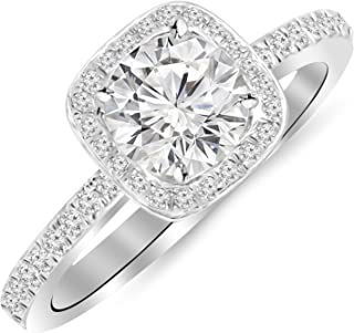 1 Carat 14K White Gold Classic Halo Style Cushion Shape Diamond Engagement Ring with a 0.75 Carat H-I I1 Center