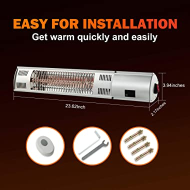 PAMAPIC Outdoor Wall-Mounted Patio Heater Electric Patio Heater Indoor/Outdoor Heater with Remote Control, 1500W Outside Pati