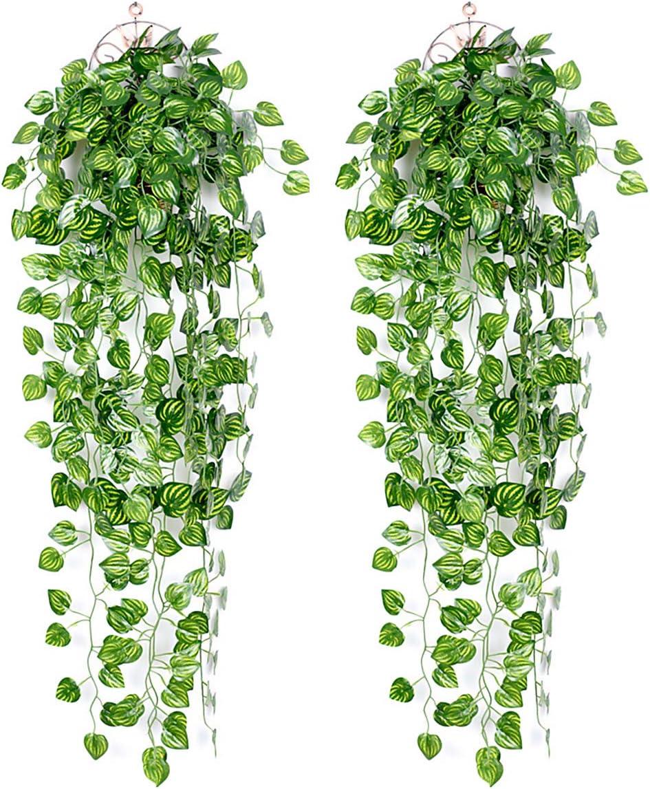 Ousuga Plantas Artificiales Decorativas,2 Piezas Hiedra Artificial Verde Hojas de Hiedra Falsas Hanging Wedding Garland Falsas Follaje Flores Inicio Cocina Jard/ín Oficina Porche Valla Decoraci/ón