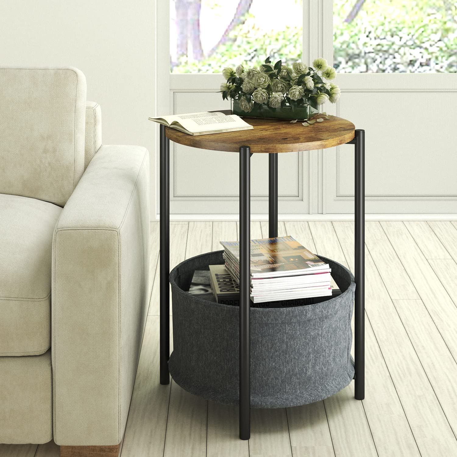 Allewie Round Side Table with Fabric Industrial Storage Selling rankings Max 51% OFF Basket