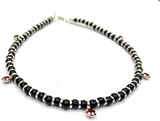 DARSHRAJ JEWELLERS 92.5 Sterling Silver Red Stone Black Beads Nazariya Anklet for Girls and Women - One Piece, Free size (...