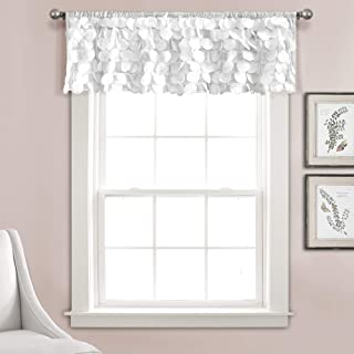 "Lush Decor Gigi Valance Textured Window Kitchen Curtain (Single), 14"" x 70"", Blush, White"