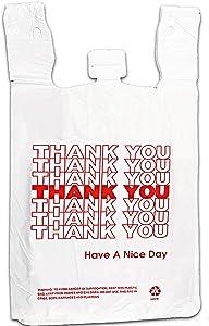 Red Thank You Plastic Shopping t-Shirt Bags - Bulk Reusable Bag with Handles - 308 Pcs